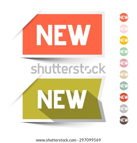 New Retro Paper Vector Labels - Stickers Set Isolated on White - stock vector