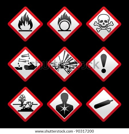 New safety symbols Hazard signs Black background - stock vector