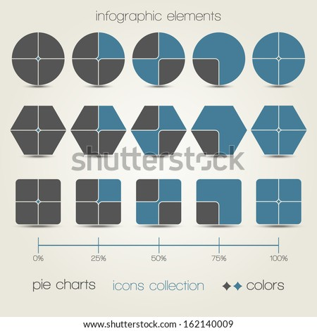 new set of info graphics icons with modern charts can use like presentation design elements - stock vector