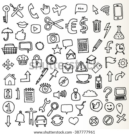 New Set of Internet Icons Doodled - stock vector
