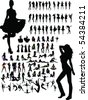 New set of model Girls fashion silhouette. Lady girls, bikini girls.Collection of people - stock vector