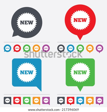 New sign icon. New arrival star symbol. Speech bubbles information icons. 24 colored buttons. Vector - stock vector