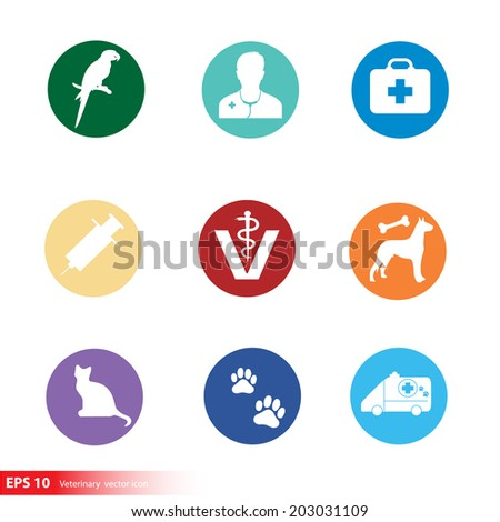 New silhouette veterinary with pet shop vector icon - stock vector