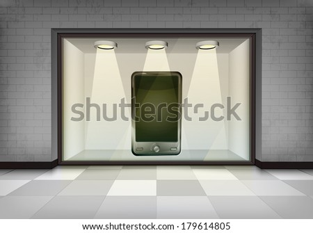 new smart phone in illuminated storefront vitrine vector concept illustration - stock vector