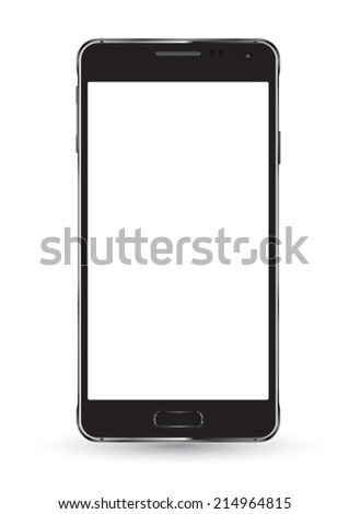 New smartphone mockup on white background. Vector illustration. Can use for printing, website, apps and presentation  element. background for application mockups. - stock vector