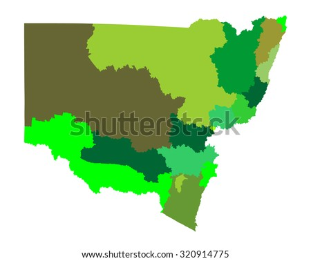New South Wales, Australia vector map illustration isolated on white background. - stock vector