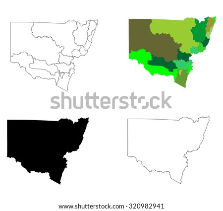 New South Wales contour, Australia vector map illustration isolated on white background. - stock vector