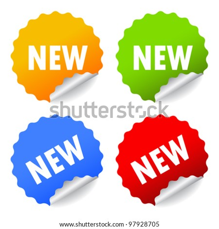 New stickers set, vector illustration - stock vector