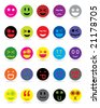 New style smile face icons - stock photo
