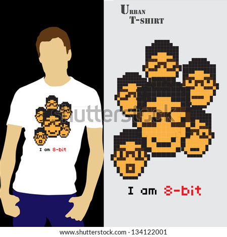 New T-shirt design with pixel art illustration - stock vector