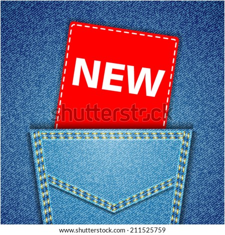 New tag. Blue back jeans pocket realistic denim texture