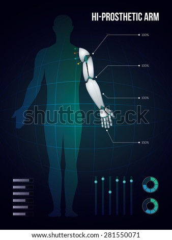 new technology of  hi-prosthetic arm, vector - stock vector