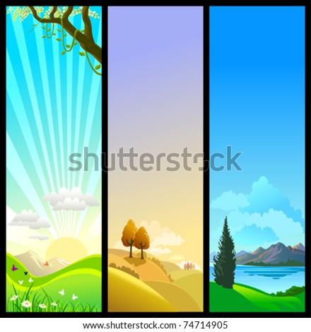 NEW - THREE SEASONS OF NATURE -BEAUTIFUL THEMES - stock vector