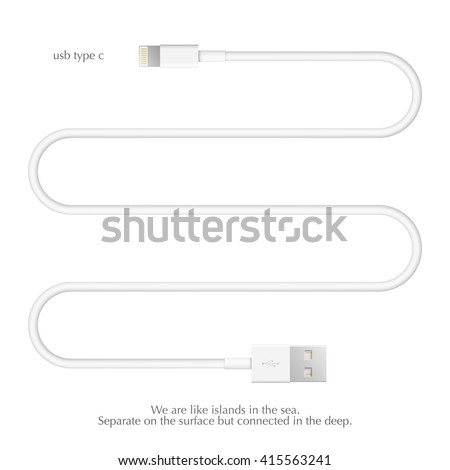 new usb interface cable isolated on white background. vector universal serial bus 3d illustration. computer peripherals connector or smartphone recharge supply - stock vector