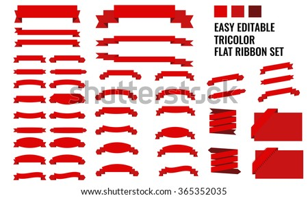 New vector set of tricolor, flat, long and short red ribbon banner collection - stock vector