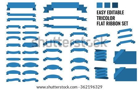New vector set of tricolor, flat, long and short ribbon banner collection - stock vector