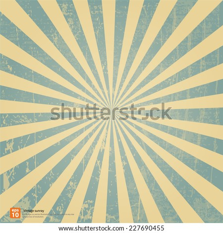 New vector Vintage blue rising sun or sun ray,sun burst retro background design - stock vector