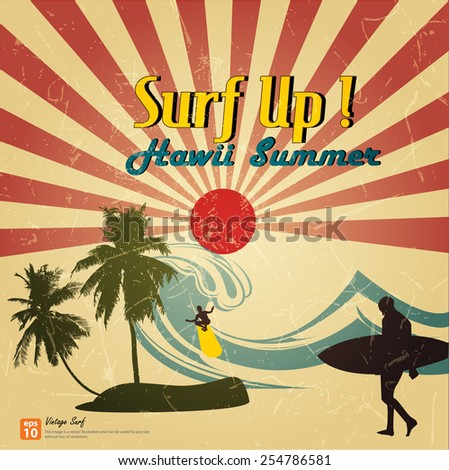 New vector Vintage card - surf up hawaii summer beach with  rising sun or sun ray,sun burst retro - stock vector