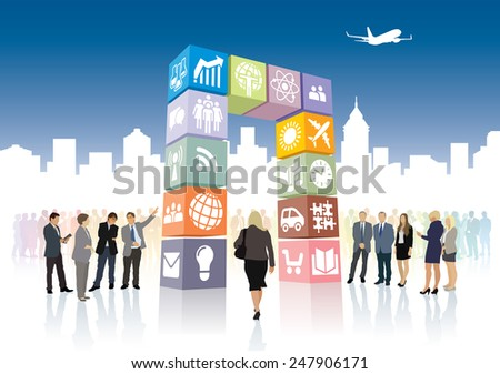 New web portal is open to the city, gate of icons and signs.  - stock vector