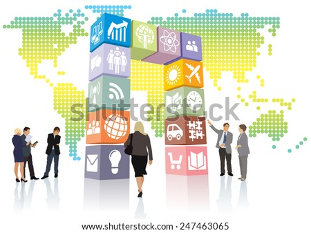 New web portal is open to the world, gate of icons and signs.  - stock vector