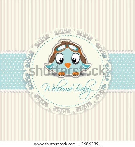 new welcome baby boy card - stock vector
