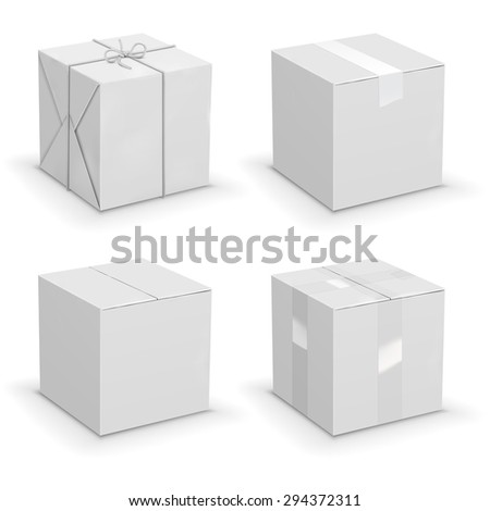 New white cardboard boxes wrapped in paper. Vector illustration set - stock vector