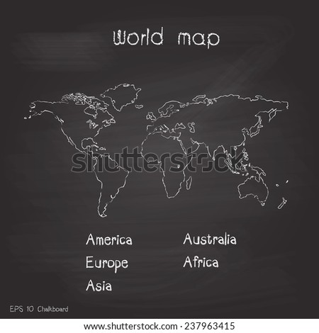 New world map chalkboard background vector design - stock vector