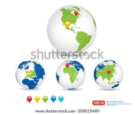 New world map globe pin marker vectores en stock 198719846 new world map with globe and pin marker location vector format vector format gumiabroncs Choice Image