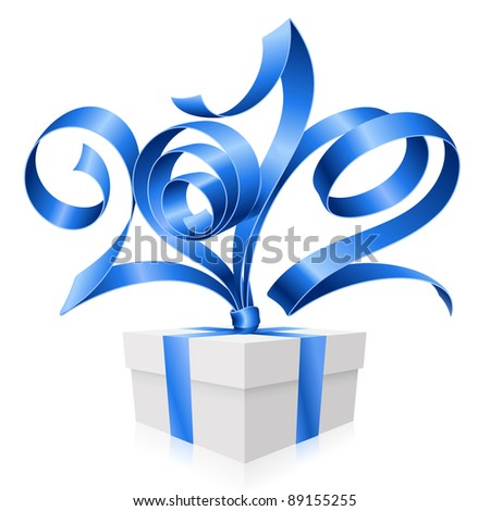 New Year and Christmas background with vector blue ribbon in the shape of 2012 and gift box - stock vector