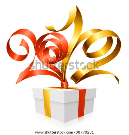 New Year and Christmas background with vector gift box, golden and red ribbon - stock vector