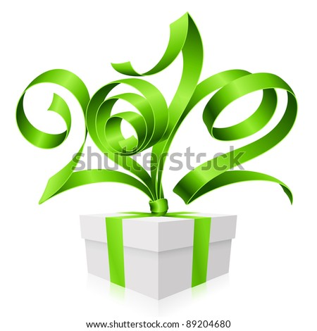 New Year and Christmas background with vector green ribbon in the shape of 2012 and gift box - stock vector