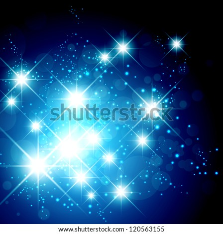 New Year and Christmas Bright Star Holiday Background