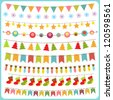 New year and Christmas bunting and garland set - stock vector