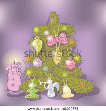 New year and Christmas card decorated Christmas tree and a burning candle - stock vector