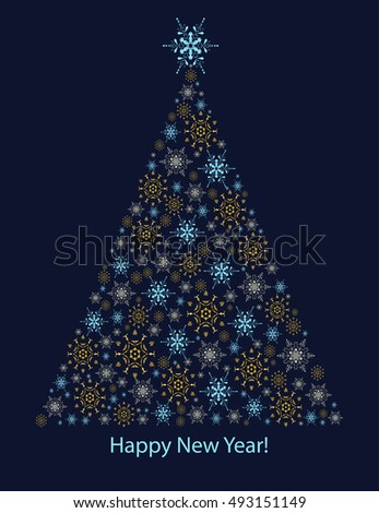 New year and Christmas card with christmas tree. Modern styling. Snowflakes. Vector illustration