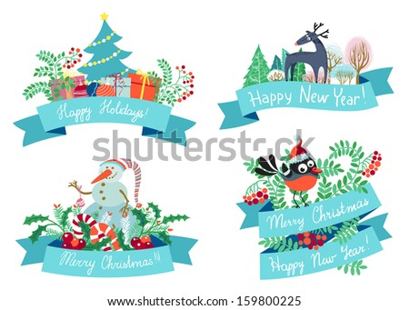 New year and Christmas design elements  - stock vector