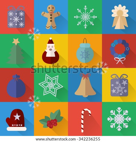 New Year and Christmas flat icons set