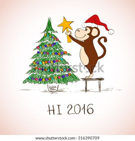 New Year and Christmas greeting card. Funny sketching monkey decorate the Christmas tree. Symbol of the New Year 2016. - stock vector