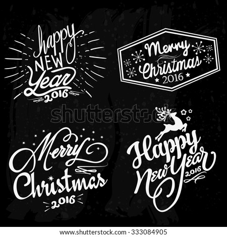 New year and Christmas Vector illustration format EPS 10, the lettering on the theme of New year and Christmas. - stock vector