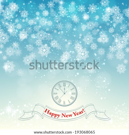 New Year and Christmas vintage background with snowflakes and clock and a greeting text. vector