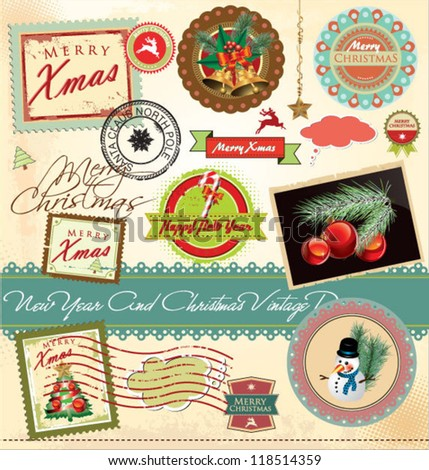 New year and christmas vintage design - stock vector