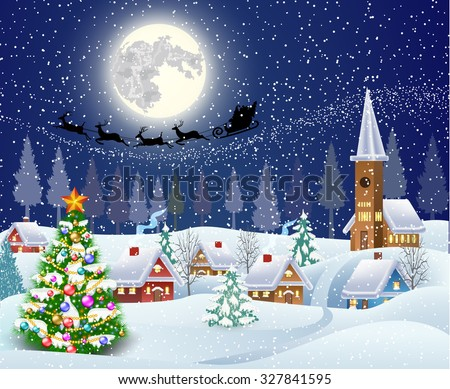 New year and Christmas winter landscape with christmas tree .  background with moon and the silhouette of Santa Claus flying on a sleigh. concept for greeting or postal card, vector illustration - stock vector