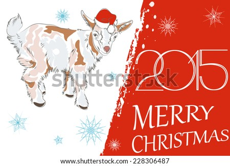 New year 2015 merry christmas greeting stock photo photo vector new year 2015 and merry christmas greeting card with goat vector illustration m4hsunfo
