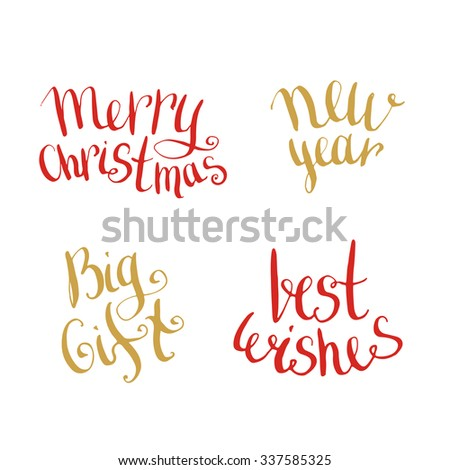 New Year and Merry Christmas handwritten lettering words collection. Congratulation for cards and banner  - stock vector