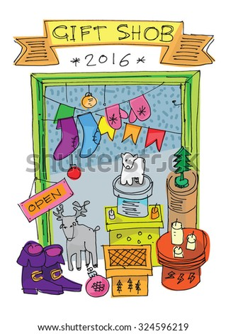 New Year and Xmas gift shop - concept - cartoon - stock vector