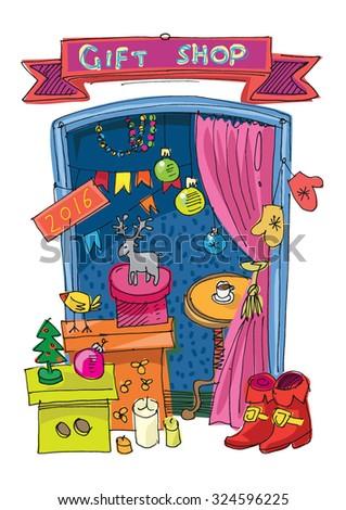 New Year and Xmas gift shop - concept - cartoon - stock vector