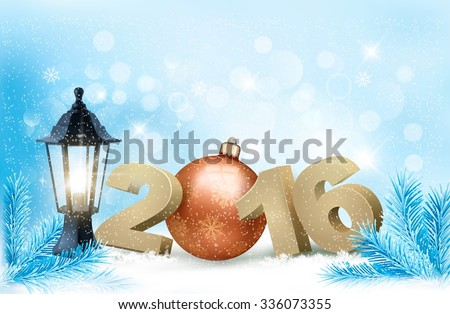 New Year background with a 2016 and a bauble. Vector. - stock vector