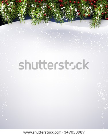 New Year background with fir branches. Vector illustration. - stock vector