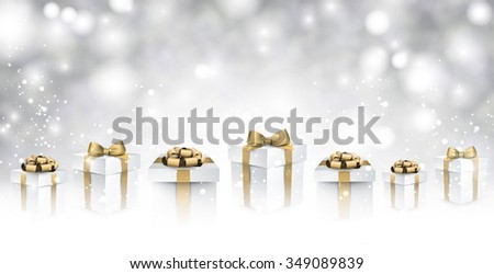 New Year background with gifts. Vector paper illustration. - stock vector