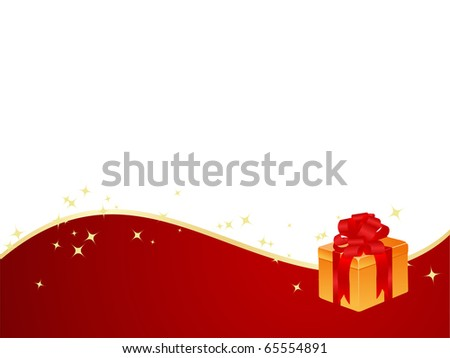 New year background with magic stars and gift box. Vector illustration.